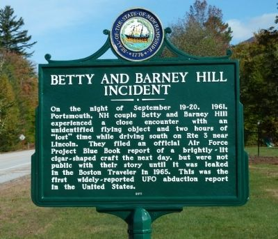 Betty and Barney Hill Incident Marker image. Click for full size.