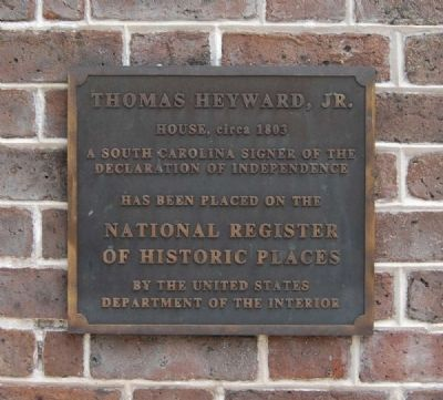 Thomas Heyward, Jr. House Marker image. Click for full size.