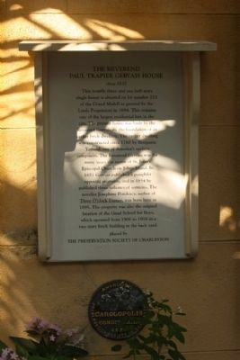 The Reverend Paul Trapier Gervais House Marker, including : image. Click for full size.