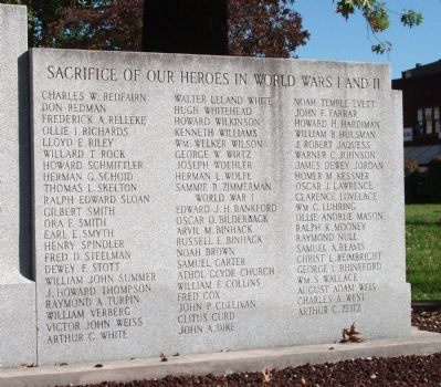 Right Panel - - Gibson County World Wars I and II Honor Roll Marker image. Click for full size.