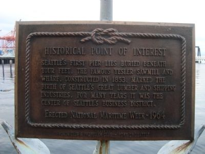 Seattle�s First Pier Marker image. Click for full size.