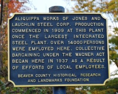 Aliquippa Works Marker image. Click for full size.