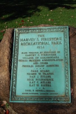 Harvey S. Firestone Park plaque image. Click for full size.