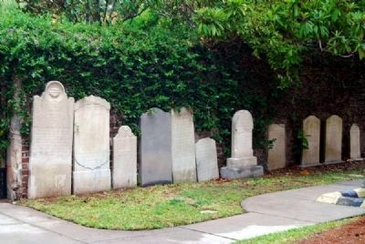 St. Philip&#39;s Churchyard<br>Tombstones Resting Against the<br>Cemetery Walls Photo, Click for full size