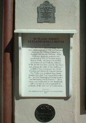 58 Tradd Street Cleland - Wells House Markers image. Click for full size.