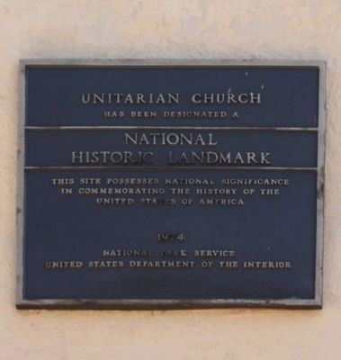 The Unitarian Church National Register of Historic Places: Marker image. Click for full size.