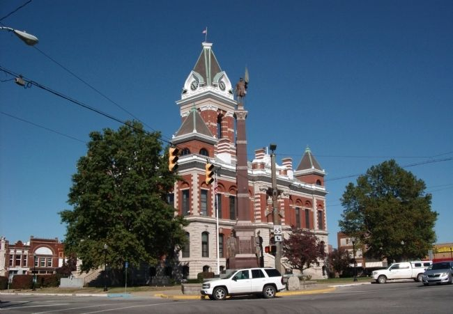 South/East Corner - - Gibson County Courthouse -and- Marker image. Click for full size.