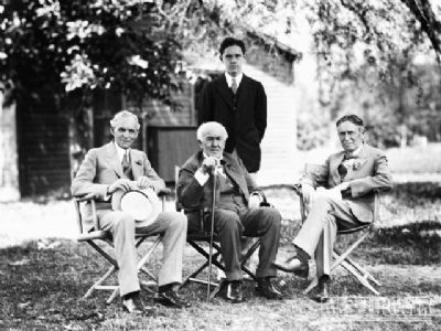 Henry Ford, Thomas Edison & Harvey Firestone image. Click for full size.