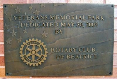 Beatrice Veterans Memorial Wall of Honor Rotary Marker image. Click for full size.