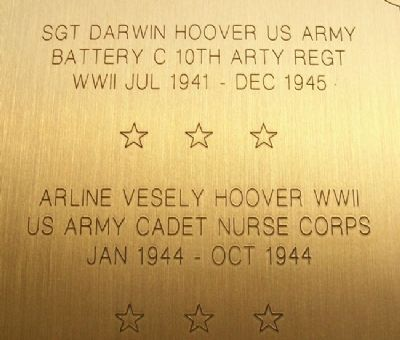 SGT Darwin Hoover and Nurse Arline Vesely Hoover image. Click for full size.