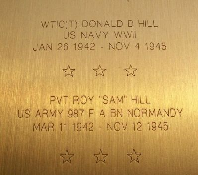 "WTIC(T) Donald Hill and PVT Roy ""Sam"" Hill image. Click for full size."
