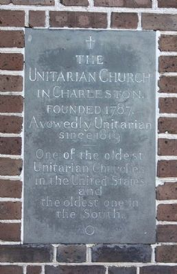 The Unitarian Church in Charleston Marker image. Click for full size.