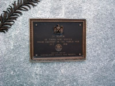Bartholomew County W.W. I - Veterans Memorial Marker image. Click for full size.