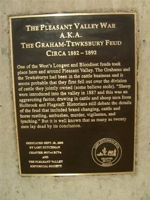The Pleasant Valley War a.k.a. The Graham-Tewksbury Fued Marker image. Click for full size.