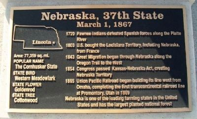 Nebraska, 37th State Marker Photo, Click for full size