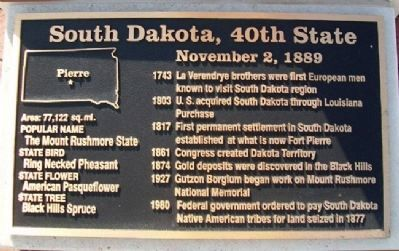South Dakota, 40th State Marker Photo, Click for full size