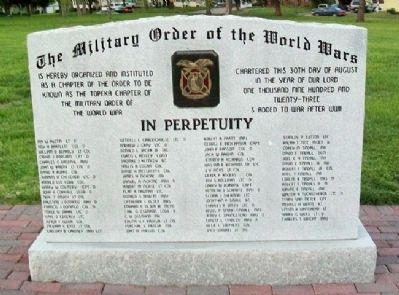 Topeka Chapter, The Military Order of the World Wars Marker (front) Photo, Click for full size