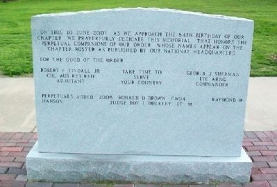 Topeka Chapter, The Military Order of the World Wars Marker (back) Photo, Click for full size