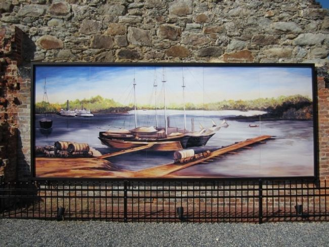 Mural of the Petersburg Appomattox River Waterfront image. Click for full size.