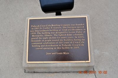 Paducah Coca~Cola Bottling Company Marker image. Click for full size.