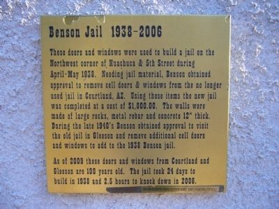 Benson Jail Marker Photo, Click for full size