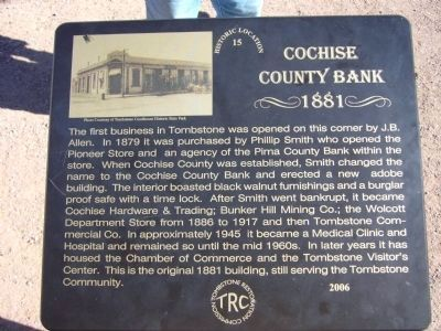 Cochise County Bank Marker image. Click for full size.