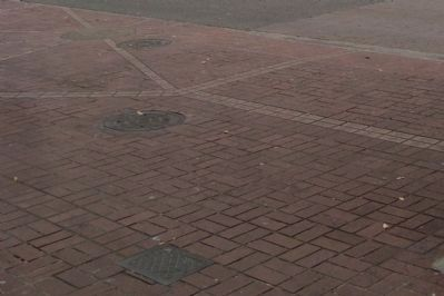 The light colored brick in the pavement outline the location of Fort Victoria. image. Click for full size.