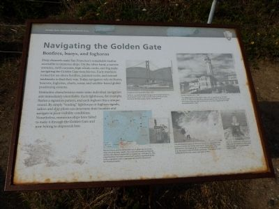 Navigating the Golden Gate - Bonfires, buoys, and foghorns Marker image. Click for full size.