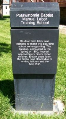 Potawatomie Baptist Manual Labor Training School Marker image. Click for full size.