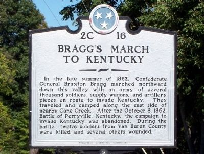 Bragg's March to Kentucky Marker image. Click for full size.