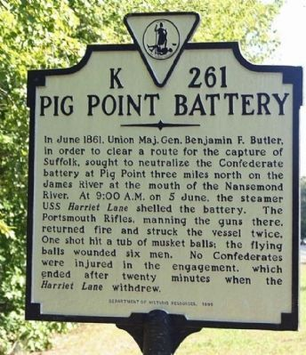 Pig Point Battery Marker Photo, Click for full size