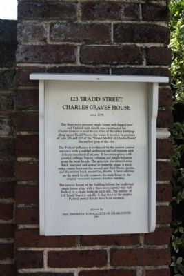 123 Tradd Street Charles Graves House Marker image. Click for full size.