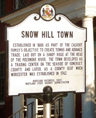 Snow Hill Town Marker image. Click for full size.