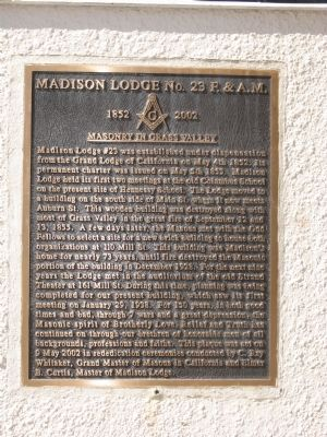 Madison Lodge No. 23 F. & A.M. Marker image. Click for full size.