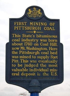 First Mining of Pittsburgh Coal Marker image. Click for full size.