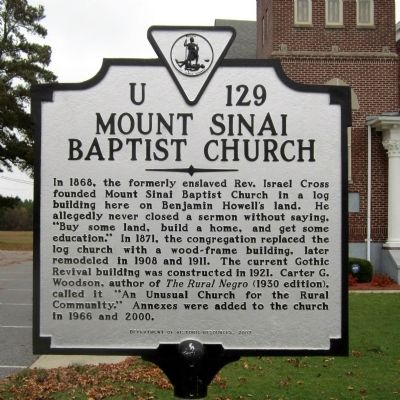 Mount Sinai Baptist Church Marker image. Click for full size.