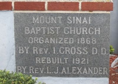 Mount Sinai Baptist Church Cornerstone image. Click for full size.