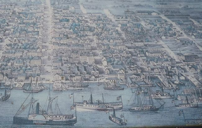 "Close-up of The Potomac Highway Marker's ""bird's-eye view"" of the Alexandria waterfront image. Click for full size."