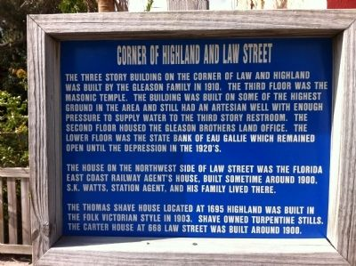 Corner of Highland and Law Marker image. Click for full size.