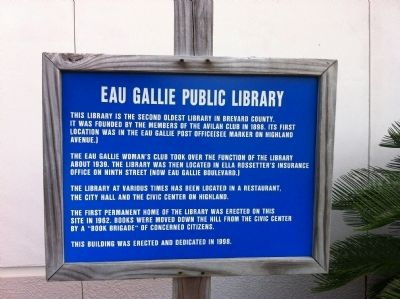 Eau Gallie Public Library Marker image. Click for full size.