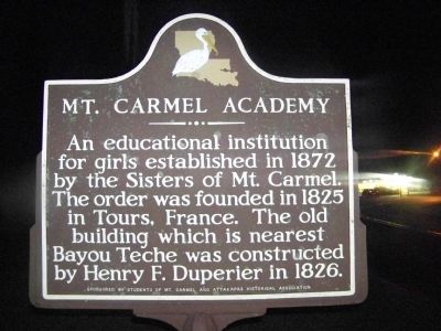 Mt. Carmel Academy Marker reverse, with identical text. image. Click for full size.