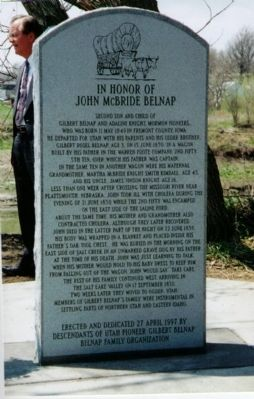 In Honor Of John McBride Belnap Marker image. Click for full size.