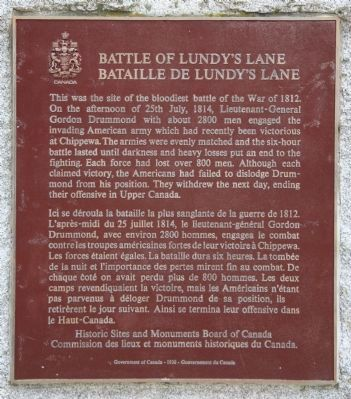 Battle of Lundy's Lane Marker Photo, Click for full size