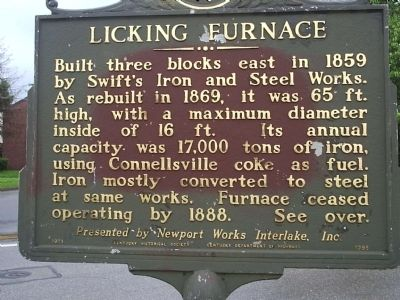 Licking Furnace/Iron Made in Kentucky Marker image. Click for full size.
