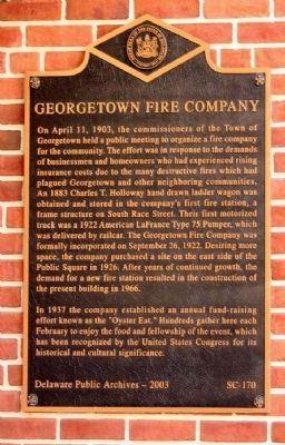 Georgetown Fire Company Marker image. Click for full size.