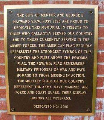 Mentor Veterans Memorial Marker image. Click for full size.