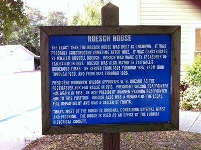 Roesch House Marker image. Click for full size.