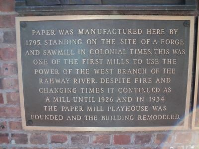 Second Paper Mill Playhouse Marker image. Click for full size.