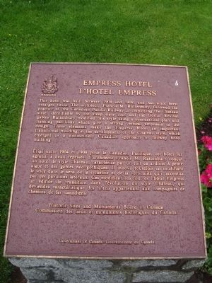 Empress Hotel Marker image. Click for full size.