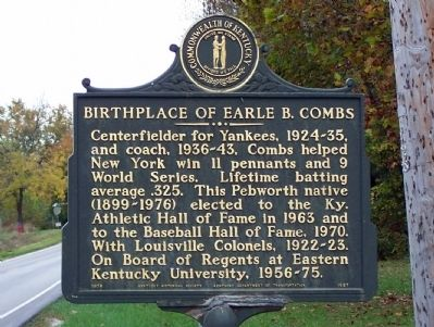 Birthplace of Earle B. Combs Marker image. Click for full size.